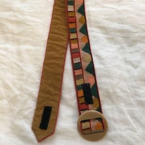 Embroidered Vintage 70s Belt with Wooden Buckle